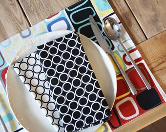 Custom - Cotton Handmade Placemats  - Kandinsky Design - Set of 4