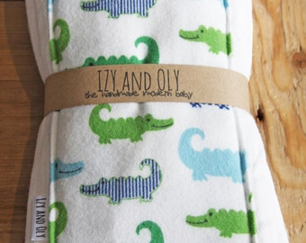 Alligator Burp Cloths - Set of 2 - New Baby Shower Gift
