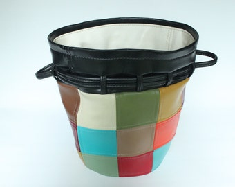 Vintage Multicolor Patchwork Leather Bucket Bag