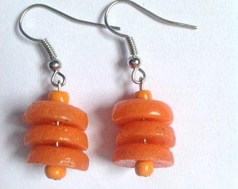 Orange Recycled Glass Earrings