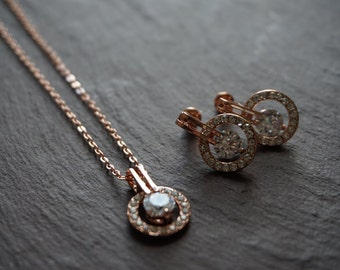 Rose gold necklace earring set, rose gold jewellery set, rose gold jewelry set, rose gold chain and earrings, bridal rose gold accessories