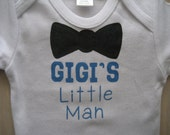 Grandma's Little Man, GIGI's Little Man,Bow Tie Boy's Onesie, Grandma to be, Personalized with your Four Letter Name, Baby Boy Shower Gift