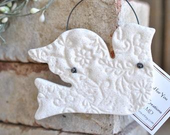 Imprinted Dove Baptism or Wedding Gift Salt Dough Ornament / Easter / Christening / Christmas Ornament