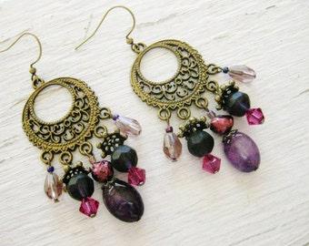 Purple bohemian earrings, Bohemian gypsy long antique gold amethyst fuchsia crystal pearl chandelier earrings
