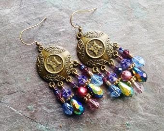 Bohemian chandelier earrings, Bohemian gypsy hippie long antique gold blue/black crystal, pearl, purple chandelier statement earrings