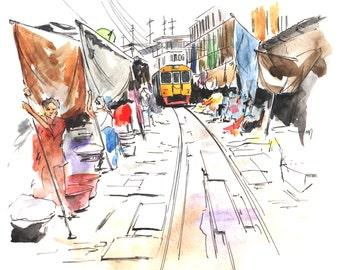 "Watercolor illustration ""Thailand. Market"""
