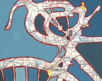 Bike Charlotte print - 13x13 print- bike art featuring Charlotte, Mt Holly, Concord, North Carolina bicycle art print