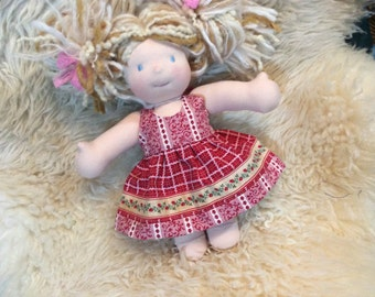 "Waldorf doll clothes for 10"" Little Buddy vintage strawberry trim"
