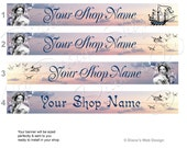 Ship Birds Purple Sunset Sky Dreamy Etsy Banner - Romantic French Woman Lavender Sky - Customized with Your Shop Name