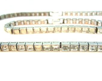 Art Deco Necklace Bracelet Set Dorsons Sterling Square Cut Channel Set Crystal 1940s Vintage Wedding Jewelry