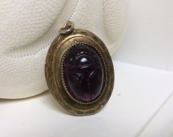 Purple Scarab Egyptian Vintage Picture Locket