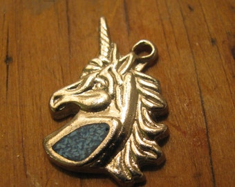 Pewter Unicorn with turquoise chips vintage  pendant