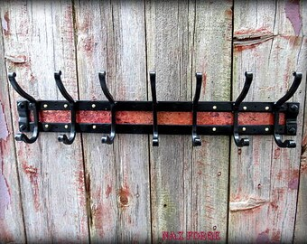 COPPER AND IRON Coat Rack - Hooks - (Hand Forged By A Blacksmith ) - Rustic -  Flat Black Powder Coated for Inside or Outside - Naz Forge