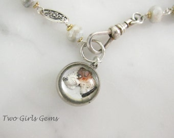 Reverse Painted Intaglio charm, Antique dog charm,   Two Girls Gems