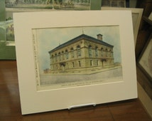 United States Post Office, Custom House, Camden, New Jersey, 1898, Bailey & Truscott, Architects. Hand Colored, Original Plan, Architecture