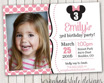Minnie Mouse Birthday Invitations | Printable Girls Party Invites | Black and Pink Invite | Picture | Photo | First 1st Birthday Invitation