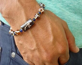 Men's Spiritual Protection, Serenity Bracelet with Semi Precious Tibetan Fire Agates, Blue Jade, Hematites, Carved Dragonfly Bone- Boho Men