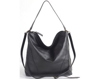 MADISON Black Leather Handbag. Leather Shoulder Bag. Leather Tote Bag. Leather Hobo Bag.  Leather Bucket Bag. Leather Crossbody Bag.