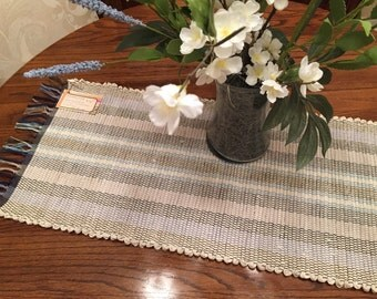 "Handwoven table runner 38"" long by 13"" wide"