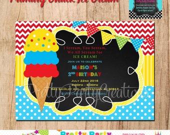 Primary CHALKBOARD ICE CREAM Party invitation - You Print