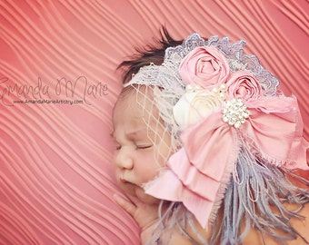 feather baby headband- baby headband- couture baby headband- vintageheadband- girl feather headband- rosette baby headband- pink and gray
