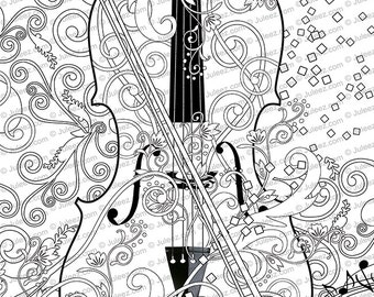 printable coloring poster adult coloring page music art coloring poster instant download coloring