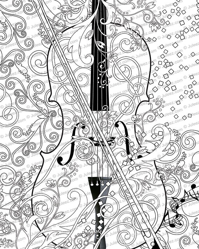 Printable Coloring Poster Adult Page Music Art