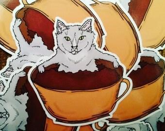 Coffee Cup Cat Vinyl Sticker