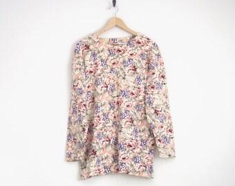 floral mini dress. 90s dress. vintage ann taylor. pink floral sweater jumper. women pink tunic blouse. mod cut dress. grunge boxy top.