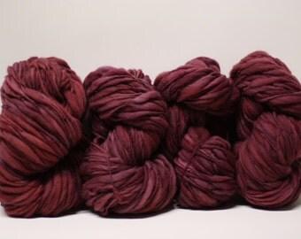 Hand Spun Merino Thick and Thin Yarn Bulky Wool Slub  Hand Dyed tts(tm) Maraschino 000x
