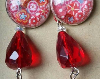 Sale was 15 now 13 Silvertone Leverback Faux Milli Fiori Red Dangel Flower earrings.