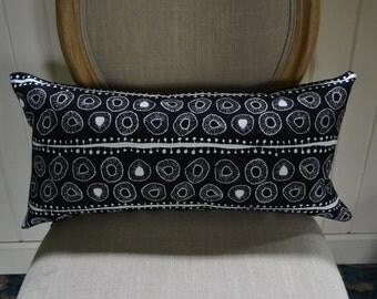 Decorative Pillow Cover Black White Screen Printed Hemp Design Accent 12x24 inch