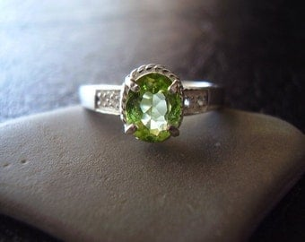 Ivy - Genuine Peridot Oval & White Topaz Engagement Ring, 925 Sterling Silver, Alternative Wedding Ring, August Birthstone, GIfts For Her