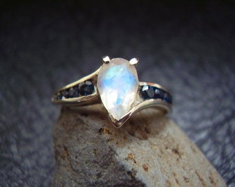 Genuine Moonstone & Sapphire Engagement Ring - Sterling Silver Ring - Alternative Wedding Ring - Faceted Pear/Teardrop Moonstone Ring - OOAK