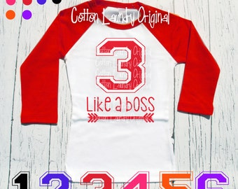 """Birthday tee Boys """"3 like a boss"""" Turning three like a boss birthday shirt - Celebrating your child's 1/2 year, 6mo, 1st, 2nd, 3rd or beyond"""