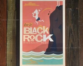 Dive in - Black Rock, Maui - 12 x 18 Retro Hawaii Travel Print