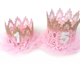 RTS || Birthday ||Pink + Gold ombré double tutu lace crowns || Sienna || ballerina ||customize any age|| KEEPSAKE BOX included || choose One