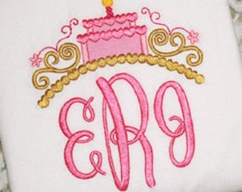 Birthday Tiara with Monogram Embroiderd Shirt perfect for a Disney trip