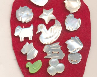 Vintage Carved Pearl Shell Buttons  -  Lot of 14 Realistics