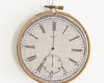 Hand Embroidered Pocket Watch Clock, Framed