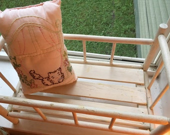 Antique Vintage chippy white painted baby doll crib so precious!!!