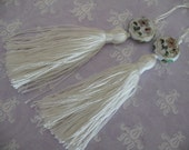 2 Luxe WHIE Silk TASSELS with charm jewelry making