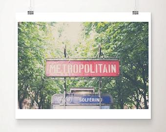 paris photograph paris decor metro photograph paris print french decor red paris metro sign photograph metro print travel photography