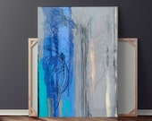 Reverse Glass Painting Original Abstract Painting Modern Art Blue Painting Grey Painting Framed Painting 34x26 By Heather Day