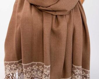 Dark tan luxurios dark pashmina shawl scarf ,bridesmaid shawl, bridesmaid gift