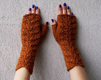 Knit Fingerless gloves, Womens Fingerles, Gift for her, Spring accessories, Arm Warmers in rusty cinnamon orange, Wrist warmers