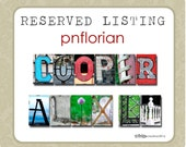 RESERVED LISTING  for pnflorian  - 2 word plates