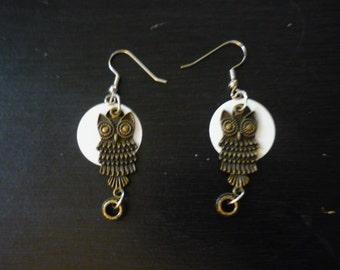 Owl in the Moon earrings