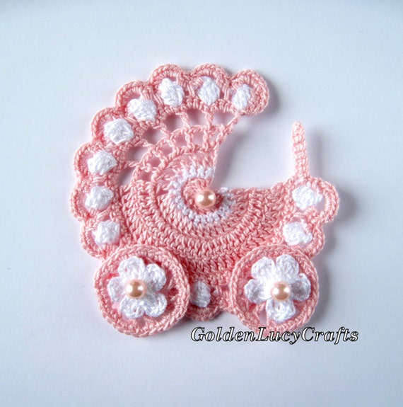 Items similar to Baby Stroller Crochet Applique, Finish ...