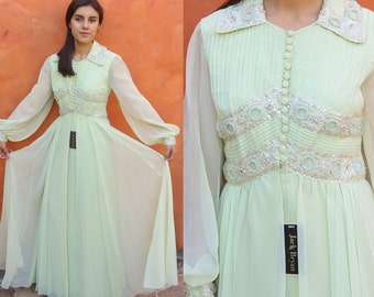 Vintage 1960s 1970s Jack Bryan Beaded Pale Green Chiffon Maxi Dress. Vintage Cocktail Evening Formal Gown. Deadstock NWT + Matching choker